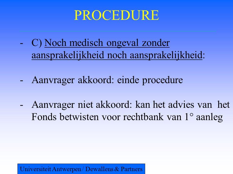 PROCEDURE -C) Noch medisch ongeval zonder aansprakelijkheid noch aansprakelijkheid: -Aanvrager akkoord: einde procedure -Aanvrager niet akkoord: kan het advies van het Fonds betwisten voor rechtbank van 1° aanleg Universiteit Antwerpen / Dewallens & Partners
