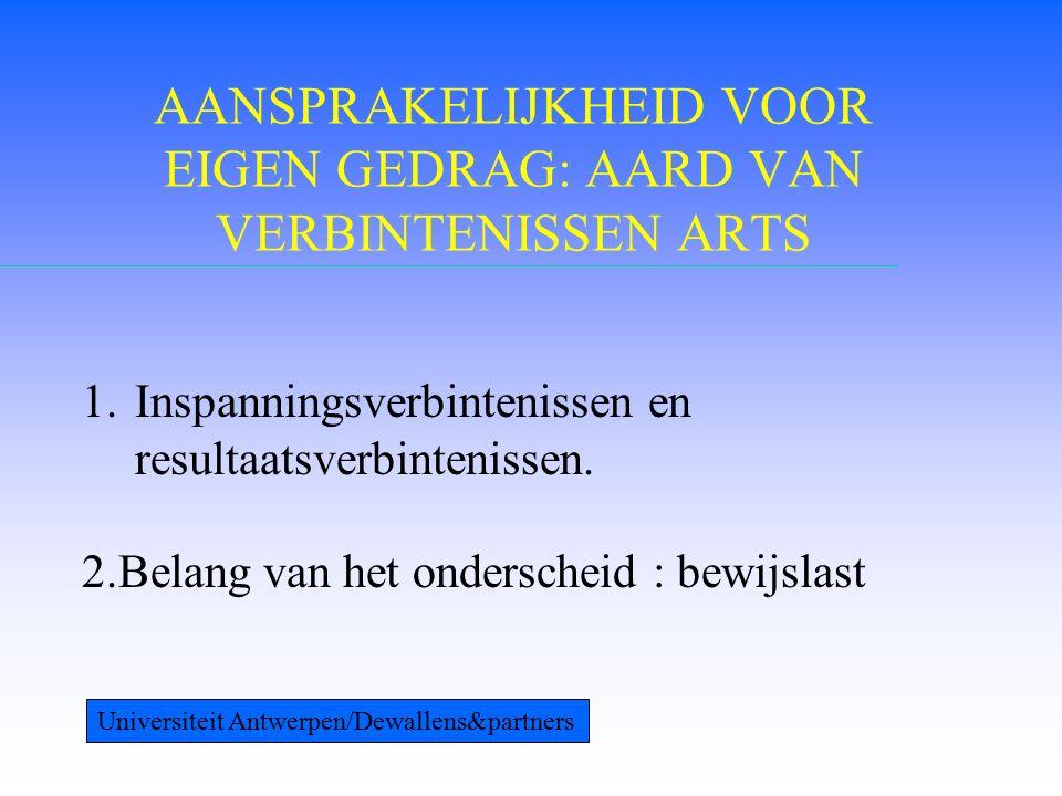 ONDERSCHEIDINGSCRITERIUM 1.Welbepaald wettelijk gebod of verbod 2.Uitdrukkelijke wil van de partijen 3.Het al dan niet onzeker karakter van het verbintenisresultaat Universiteit Antwerpen/Dewallens&partners