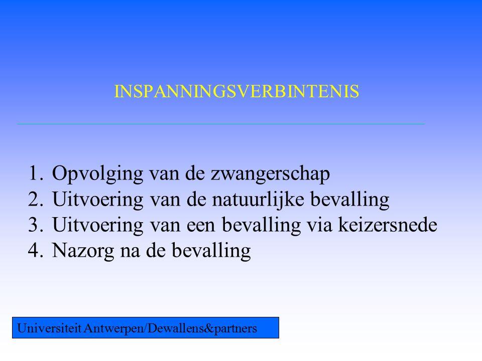 INSPANNINGSVERBINTENIS 1.Opvolging van de zwangerschap 2.Uitvoering van de natuurlijke bevalling 3.Uitvoering van een bevalling via keizersnede 4.Nazorg na de bevalling Universiteit Antwerpen/Dewallens&partners