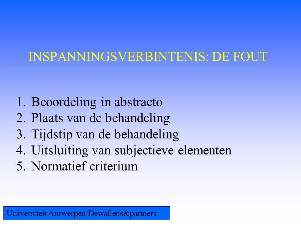 INSPANNINGSVERBINTENIS: DE FOUT 1.Beoordeling in abstracto 2.Plaats van de behandeling 3.Tijdstip van de behandeling 4.Uitsluiting van subjectieve elementen 5.Normatief criterium Universiteit Antwerpen/Dewallens&partners