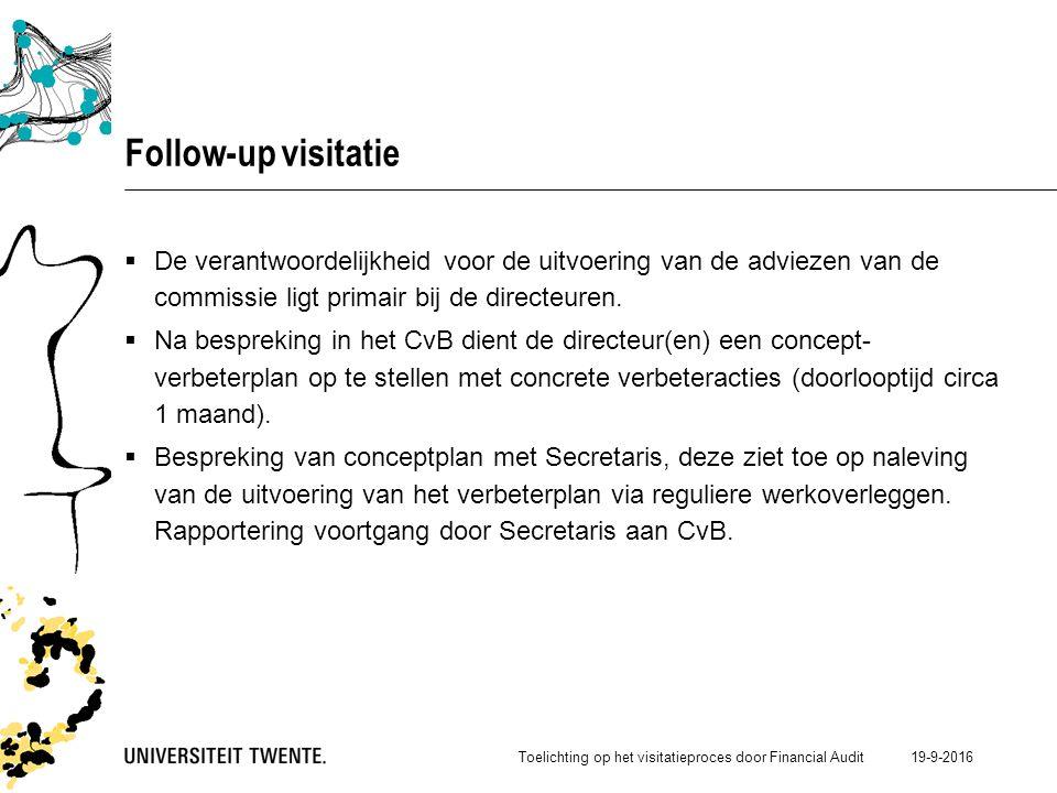 19-9-2016 Follow-up visitatie  De verantwoordelijkheid voor de uitvoering van de adviezen van de commissie ligt primair bij de directeuren.
