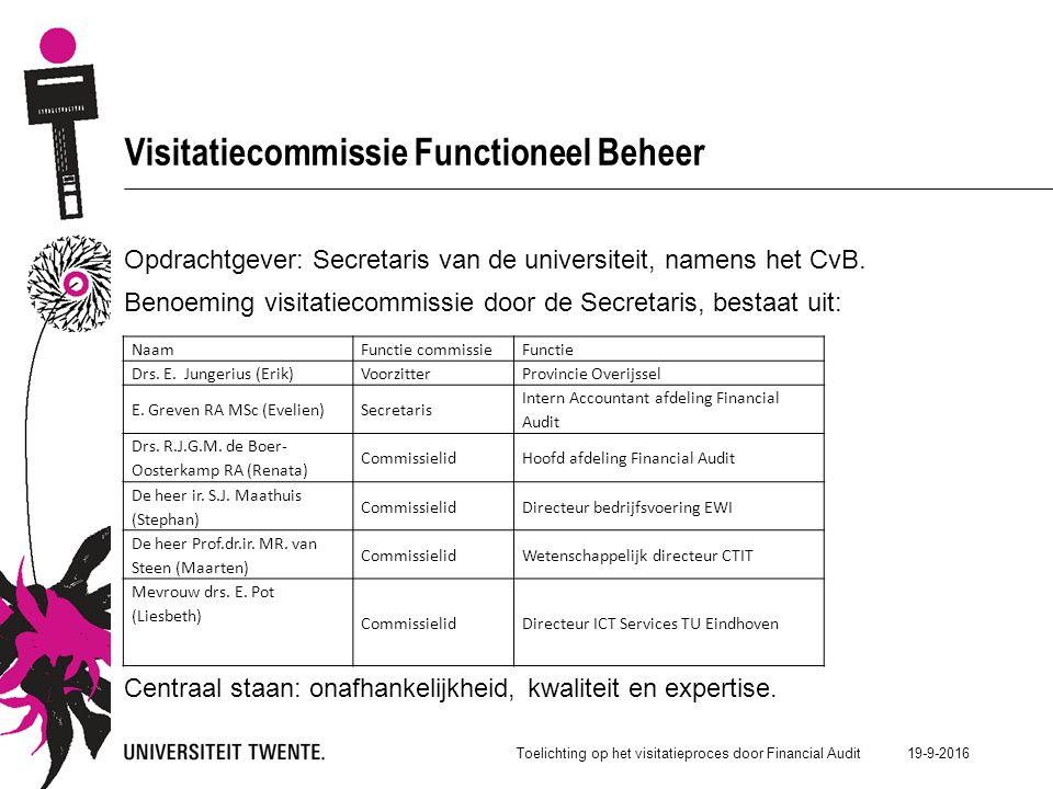 19-9-2016 Visitatiecommissie Functioneel Beheer Opdrachtgever: Secretaris van de universiteit, namens het CvB.