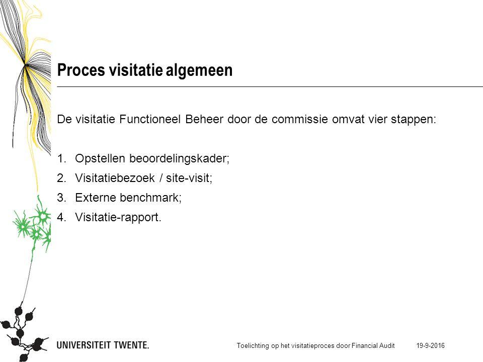 19-9-2016 Proces visitatie algemeen De visitatie Functioneel Beheer door de commissie omvat vier stappen: 1.Opstellen beoordelingskader; 2.Visitatiebezoek / site-visit; 3.Externe benchmark; 4.Visitatie-rapport.