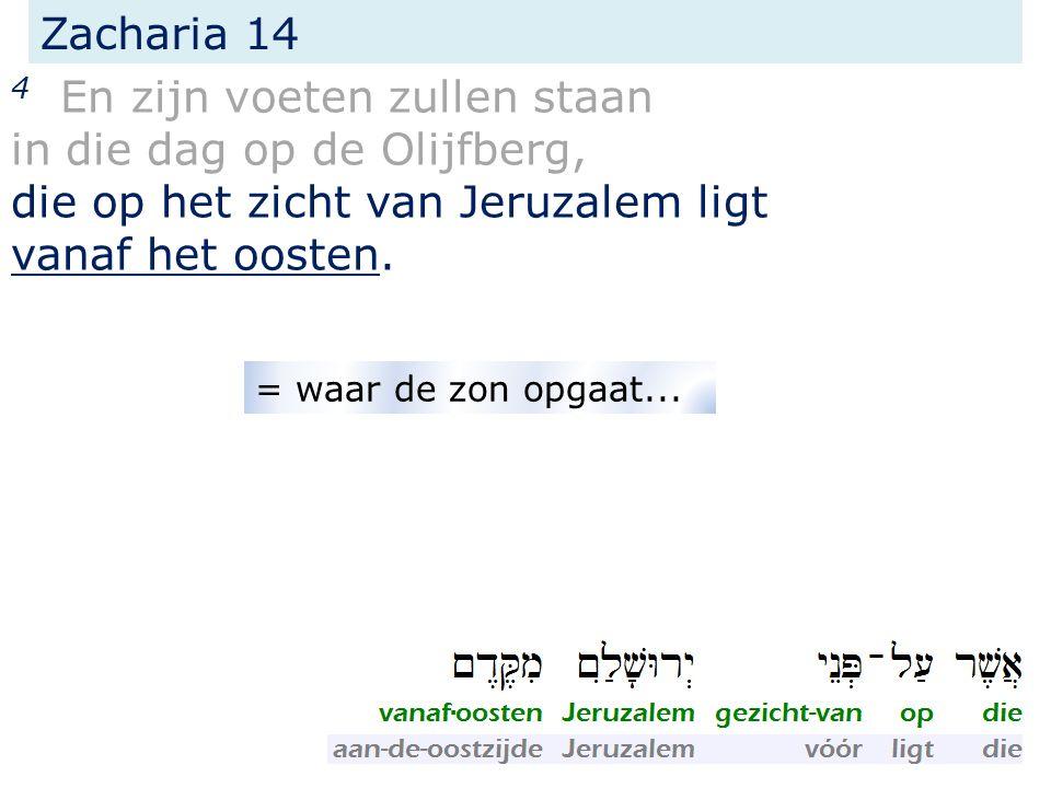 Zacharia 14 4 En zijn voeten zullen staan in die dag op de Olijfberg, die op het zicht van Jeruzalem ligt vanaf het oosten.