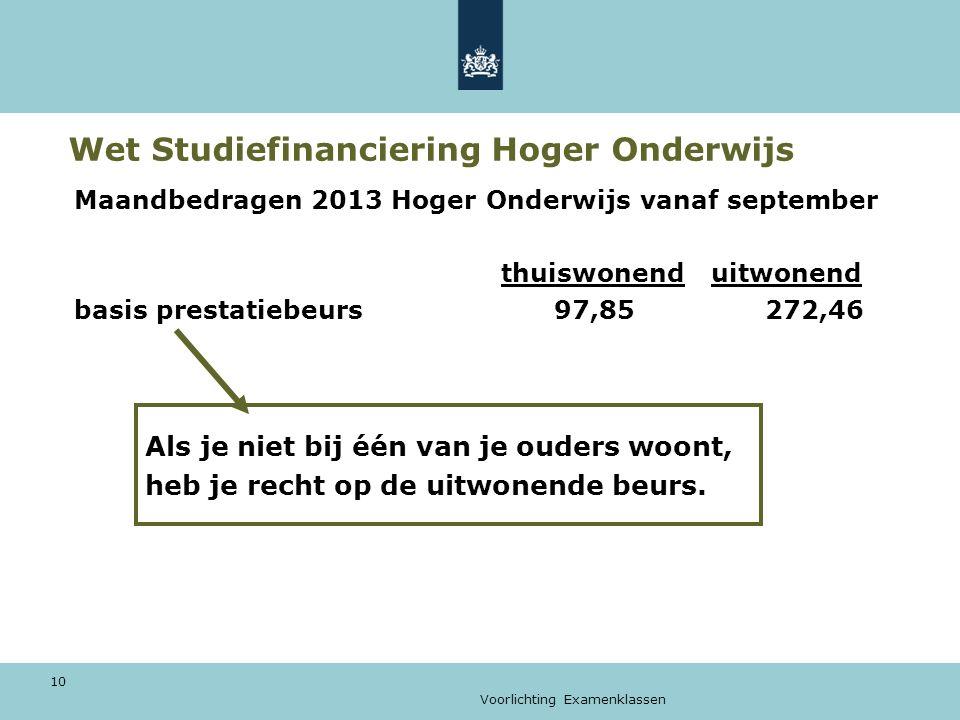 Voorlichting Examenklassen 10 Wet Studiefinanciering Hoger Onderwijs Maandbedragen 2013 Hoger Onderwijs vanaf september thuiswonend uitwonend basis pr