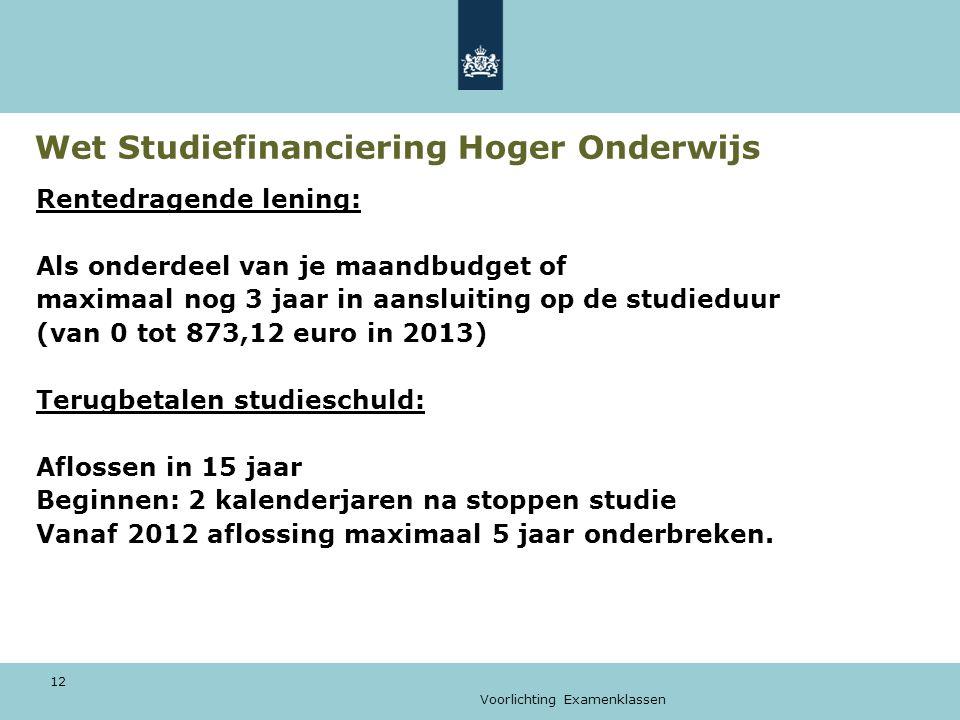 Voorlichting Examenklassen 12 Wet Studiefinanciering Hoger Onderwijs Rentedragende lening: Als onderdeel van je maandbudget of maximaal nog 3 jaar in