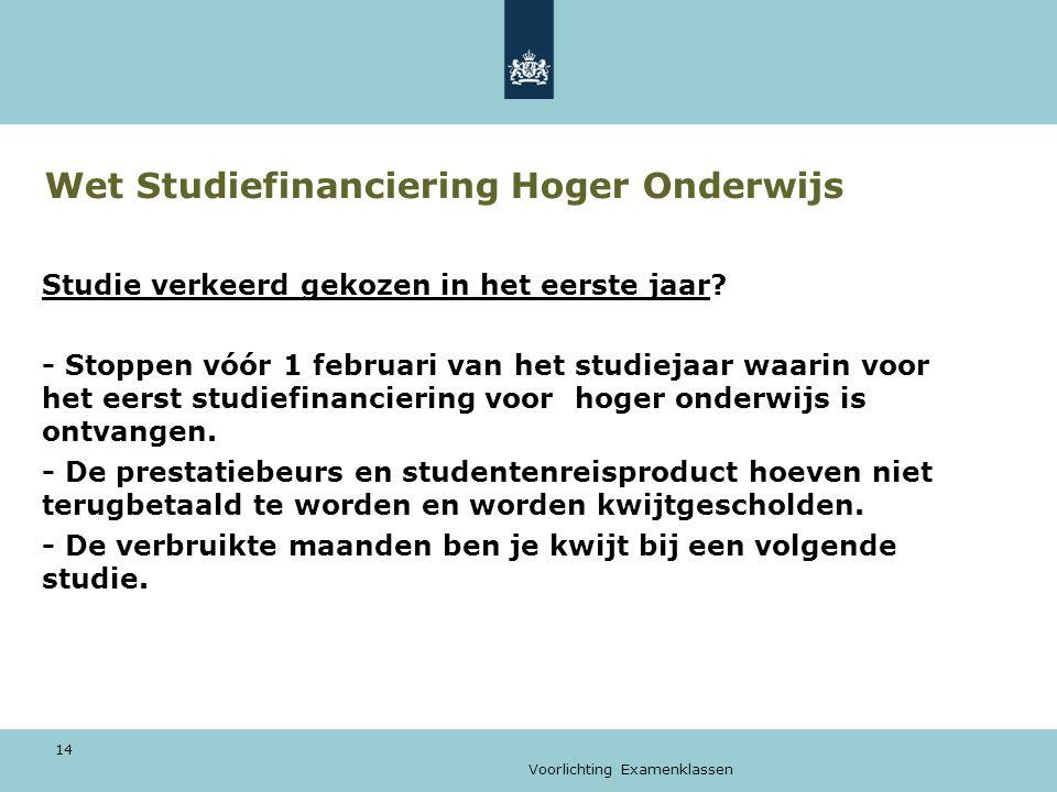 Voorlichting Examenklassen 14 Wet Studiefinanciering Hoger Onderwijs Studie verkeerd gekozen in het eerste jaar.