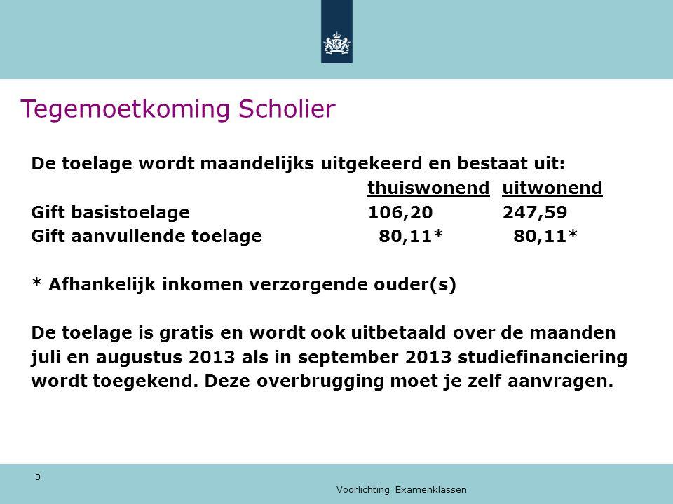 Voorlichting Examenklassen 3 Tegemoetkoming Scholier De toelage wordt maandelijks uitgekeerd en bestaat uit: thuiswonenduitwonend Gift basistoelage106