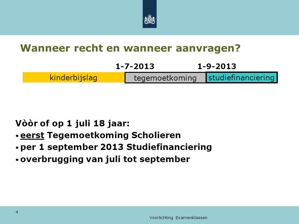 Voorlichting Examenklassen 4 Wanneer recht en wanneer aanvragen? 1-7-2013 1-9-2013 Vòòr of op 1 juli 18 jaar: eerst Tegemoetkoming Scholieren per 1 se