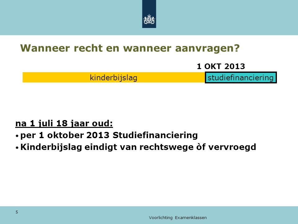 Voorlichting Examenklassen 5 Wanneer recht en wanneer aanvragen? 1 OKT 2013 na 1 juli 18 jaar oud: per 1 oktober 2013 Studiefinanciering Kinderbijslag