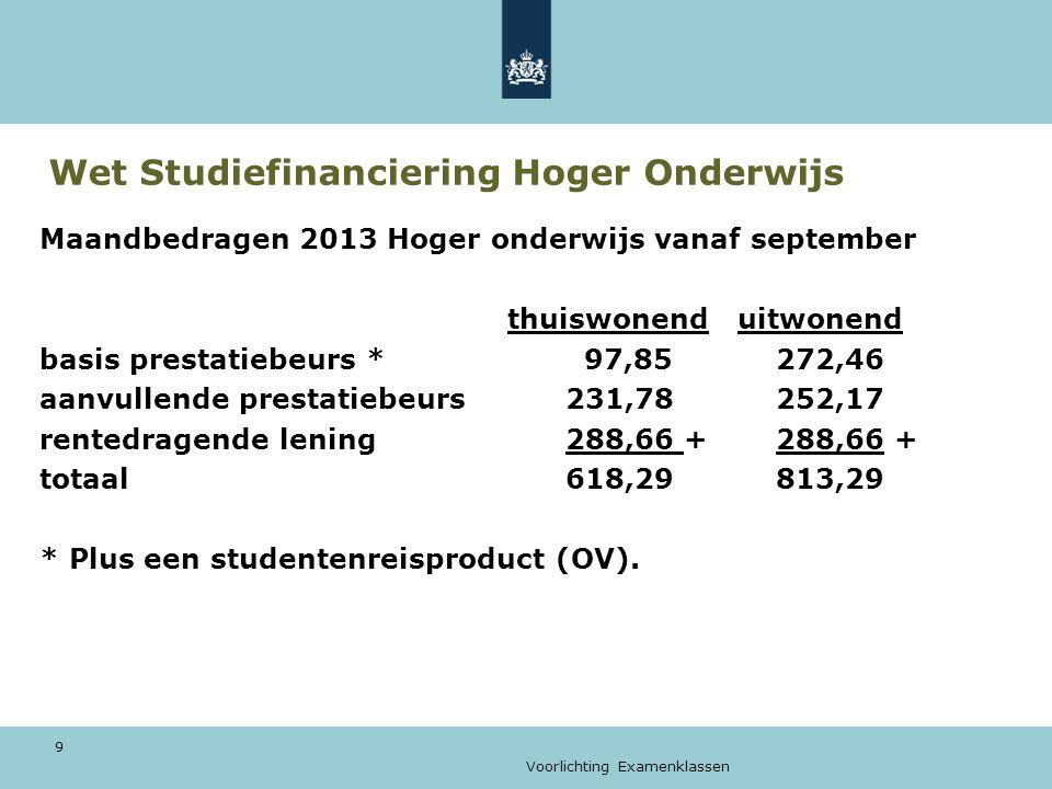 Voorlichting Examenklassen 9 Wet Studiefinanciering Hoger Onderwijs Maandbedragen 2013 Hoger onderwijs vanaf september thuiswonend uitwonend basis prestatiebeurs * 97,85272,46 aanvullende prestatiebeurs231,78252,17 rentedragende lening288,66 +288,66 + totaal618,29813,29 * Plus een studentenreisproduct (OV).