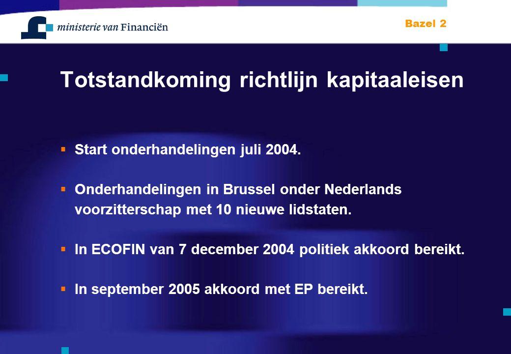 Bazel 2 Totstandkoming richtlijn kapitaaleisen  Start onderhandelingen juli 2004.