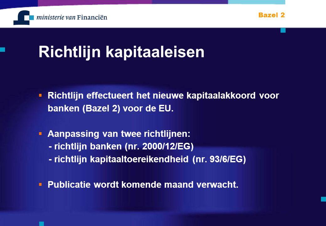 Bazel 2 Richtlijn kapitaaleisen  Richtlijn effectueert het nieuwe kapitaalakkoord voor banken (Bazel 2) voor de EU.
