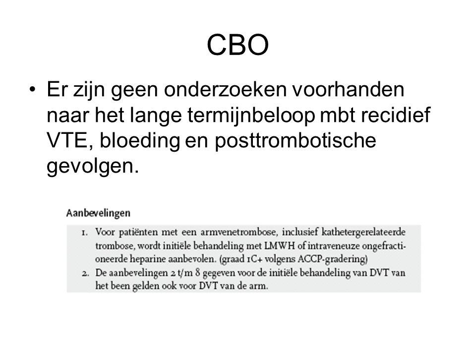 CBO Er zijn geen onderzoeken voorhanden naar het lange termijnbeloop mbt recidief VTE, bloeding en posttrombotische gevolgen.