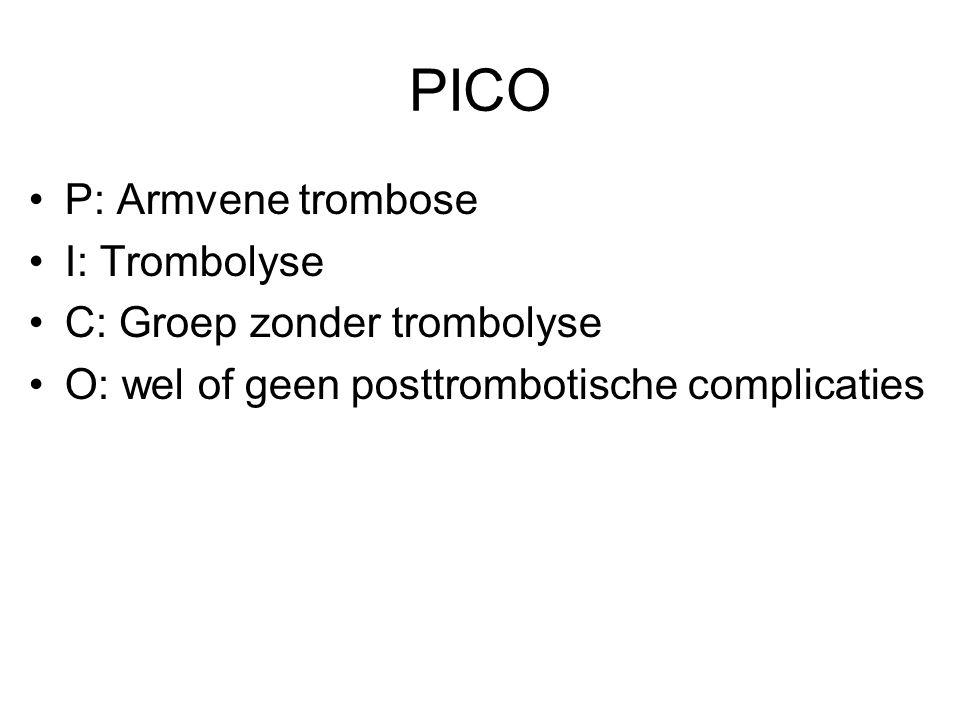 PICO P: Armvene trombose I: Trombolyse C: Groep zonder trombolyse O: wel of geen posttrombotische complicaties