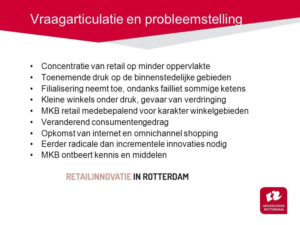Vraagarticulatie en probleemstelling Concentratie van retail op minder oppervlakte Toenemende druk op de binnenstedelijke gebieden Filialisering neemt