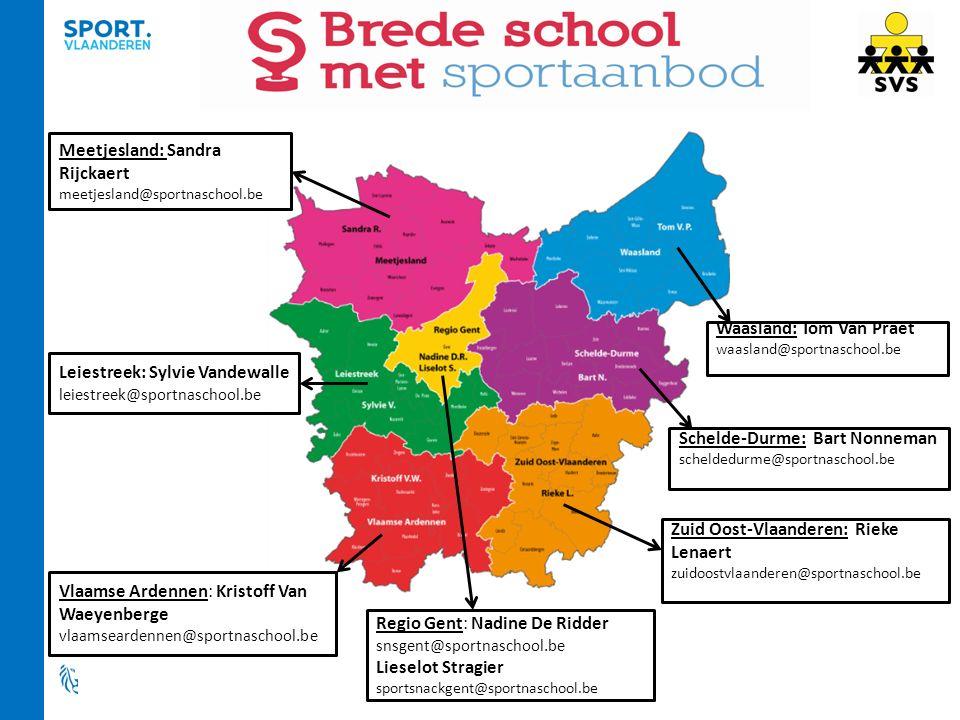 Schelde-Durme: Bart Nonneman scheldedurme@sportnaschool.be Vlaamse Ardennen: Kristoff Van Waeyenberge vlaamseardennen@sportnaschool.be Meetjesland: Sa