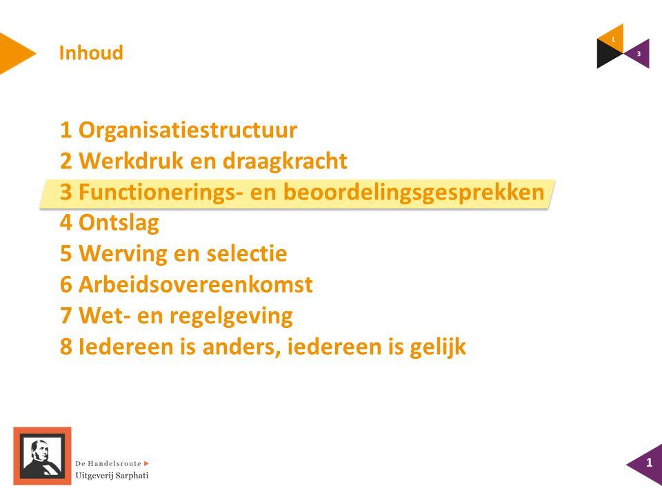 Inhoud 1 Organisatiestructuur 2 Werkdruk en draagkracht 3 Functionerings- en beoordelingsgesprekken 4 Ontslag 5 Werving en selectie 6 Arbeidsovereenko