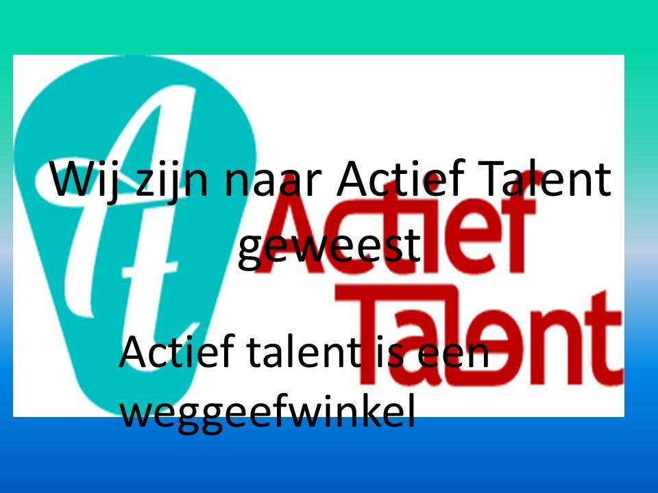 Wij zijn naar Actief Talent geweest Actief talent is een weggeefwinkel