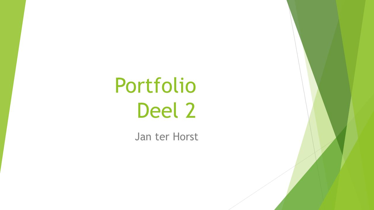 Portfolio Portfolio Deel 2 Jan ter Horst