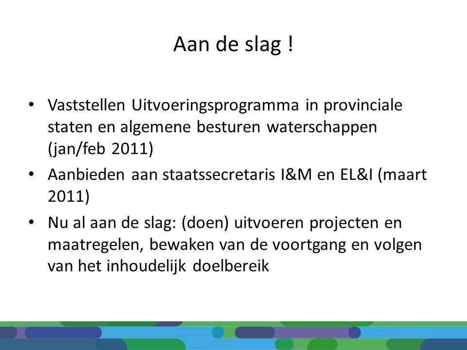 Aan de slag ! Vaststellen Uitvoeringsprogramma in provinciale staten en algemene besturen waterschappen (jan/feb 2011) Aanbieden aan staatssecretaris