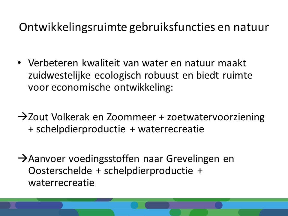 Ontwikkelingsruimte gebruiksfuncties en natuur Verbeteren kwaliteit van water en natuur maakt zuidwestelijke ecologisch robuust en biedt ruimte voor e