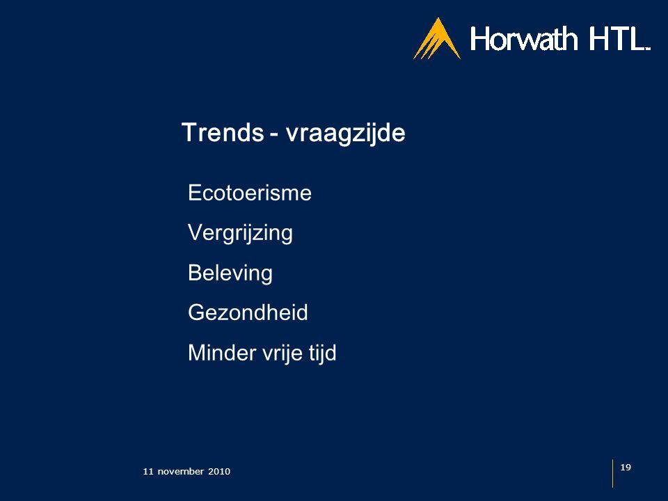 Trends - vraagzijde 11 november 2010 19 Ecotoerisme Vergrijzing Beleving Gezondheid Minder vrije tijd