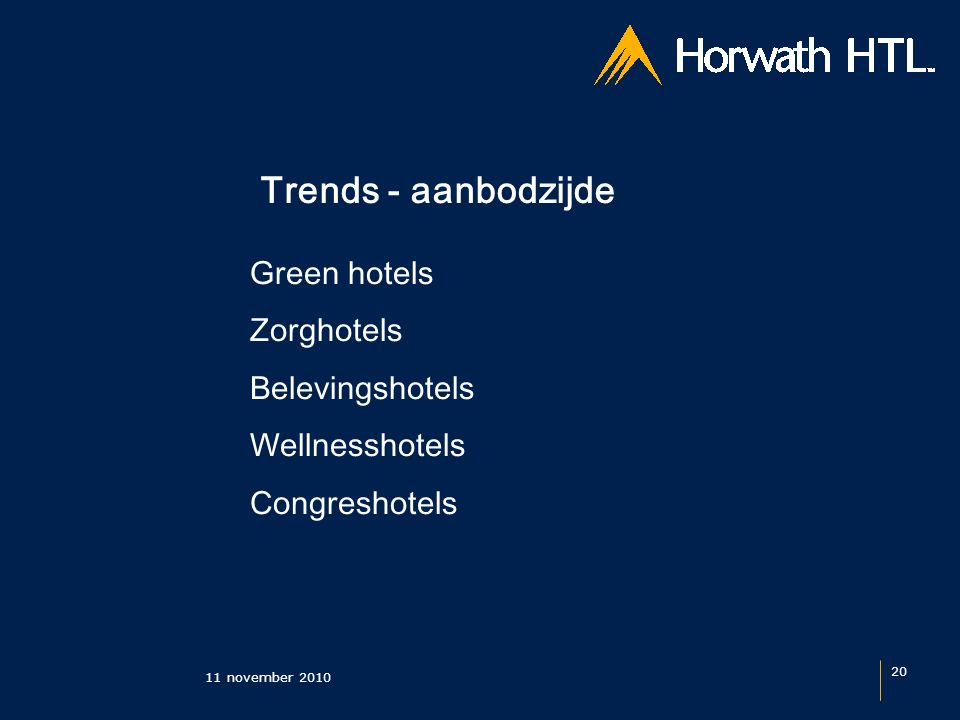 Trends - aanbodzijde 11 november 2010 20 Green hotels Zorghotels Belevingshotels Wellnesshotels Congreshotels