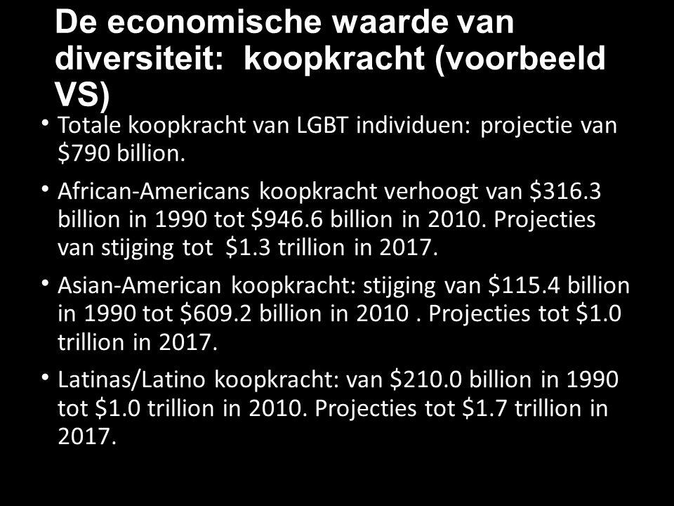 De economische waarde van diversiteit: koopkracht (voorbeeld VS) Totale koopkracht van LGBT individuen: projectie van $790 billion. African-Americans