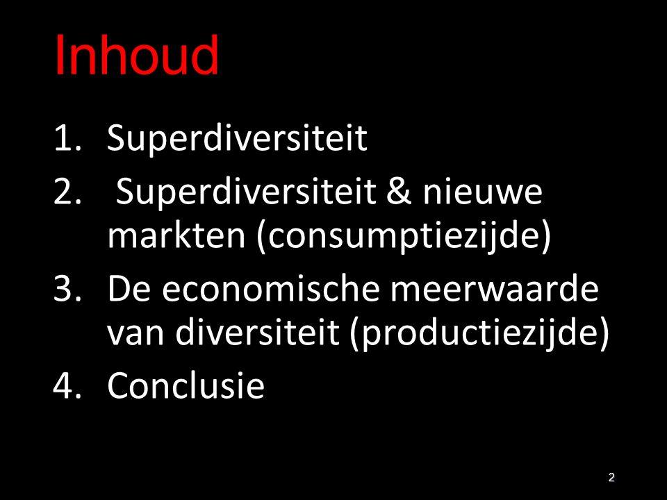 Inhoud 1.Superdiversiteit 2. Superdiversiteit & nieuwe markten (consumptiezijde) 3.De economische meerwaarde van diversiteit (productiezijde) 4.Conclu