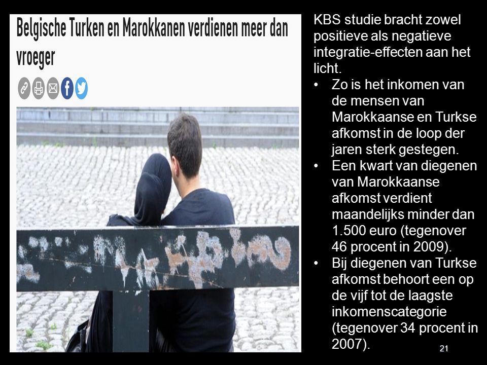 21 KBS studie bracht zowel positieve als negatieve integratie-effecten aan het licht. Zo is het inkomen van de mensen van Marokkaanse en Turkse afkoms
