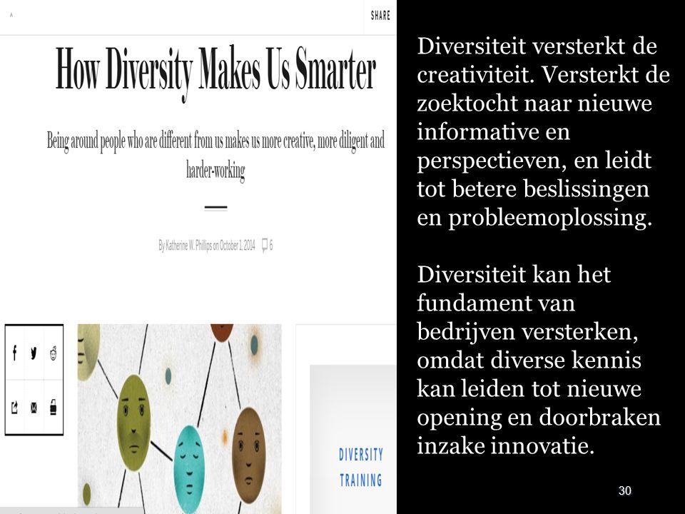 30 Diversiteit versterkt de creativiteit. Versterkt de zoektocht naar nieuwe informative en perspectieven, en leidt tot betere beslissingen en problee