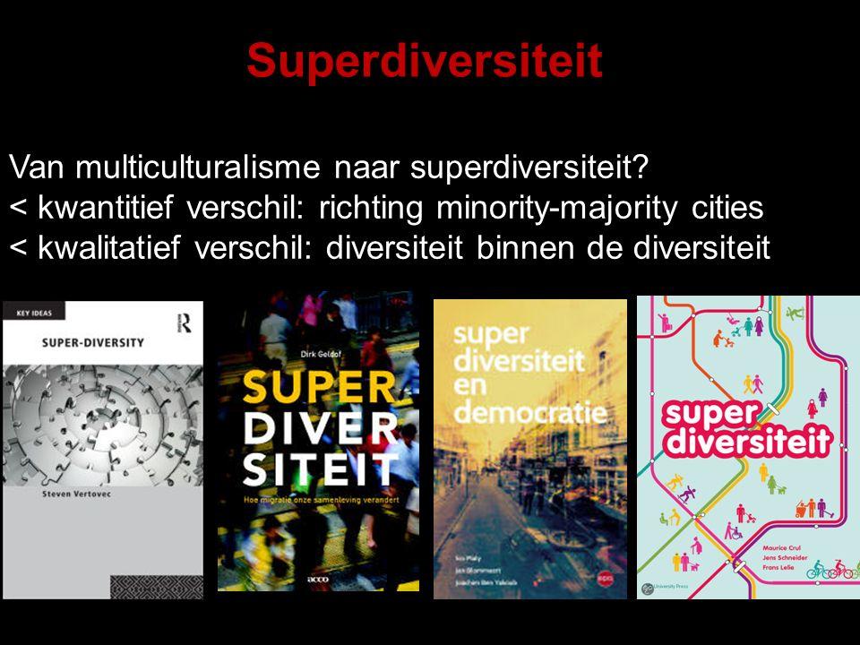 Superdiversiteit Superdiversiteit Van multiculturalisme naar superdiversiteit? < kwantitief verschil: richting minority-majority cities < kwalitatief