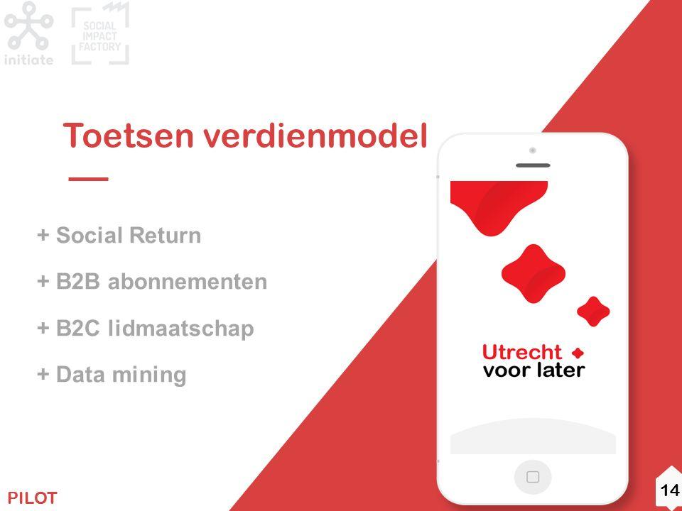 11 ROADMAP + Social Return + B2B abonnementen + B2C lidmaatschap + Data mining Toetsen verdienmodel PILOT 14