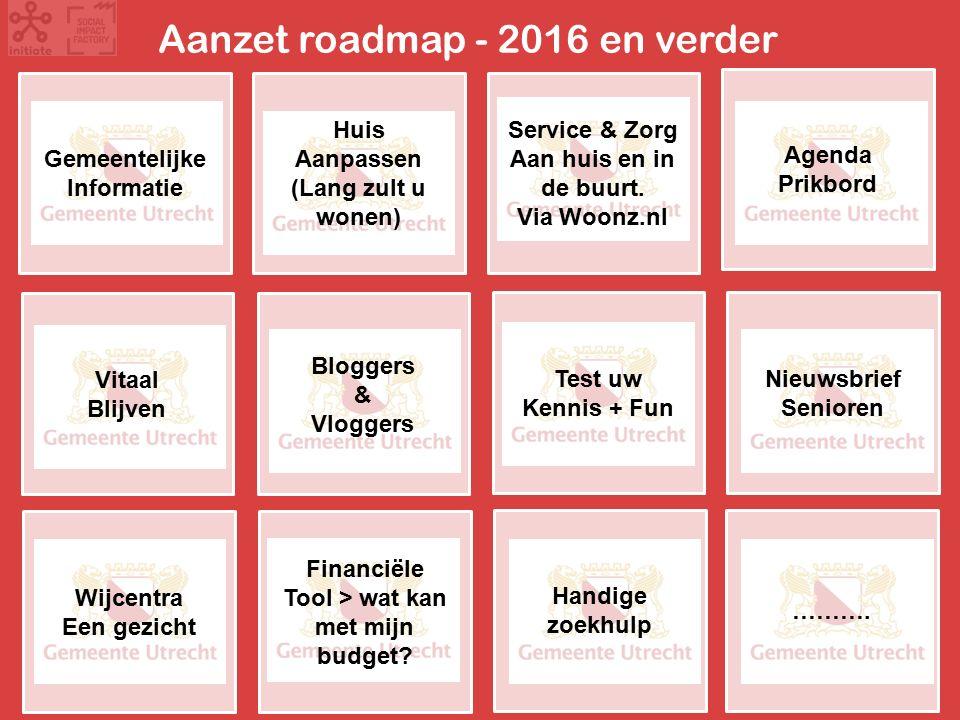 Aanzet roadmap - 2016 en verder Gemeentelijke Informatie Agenda Prikbord Service & Zorg Aan huis en in de buurt.