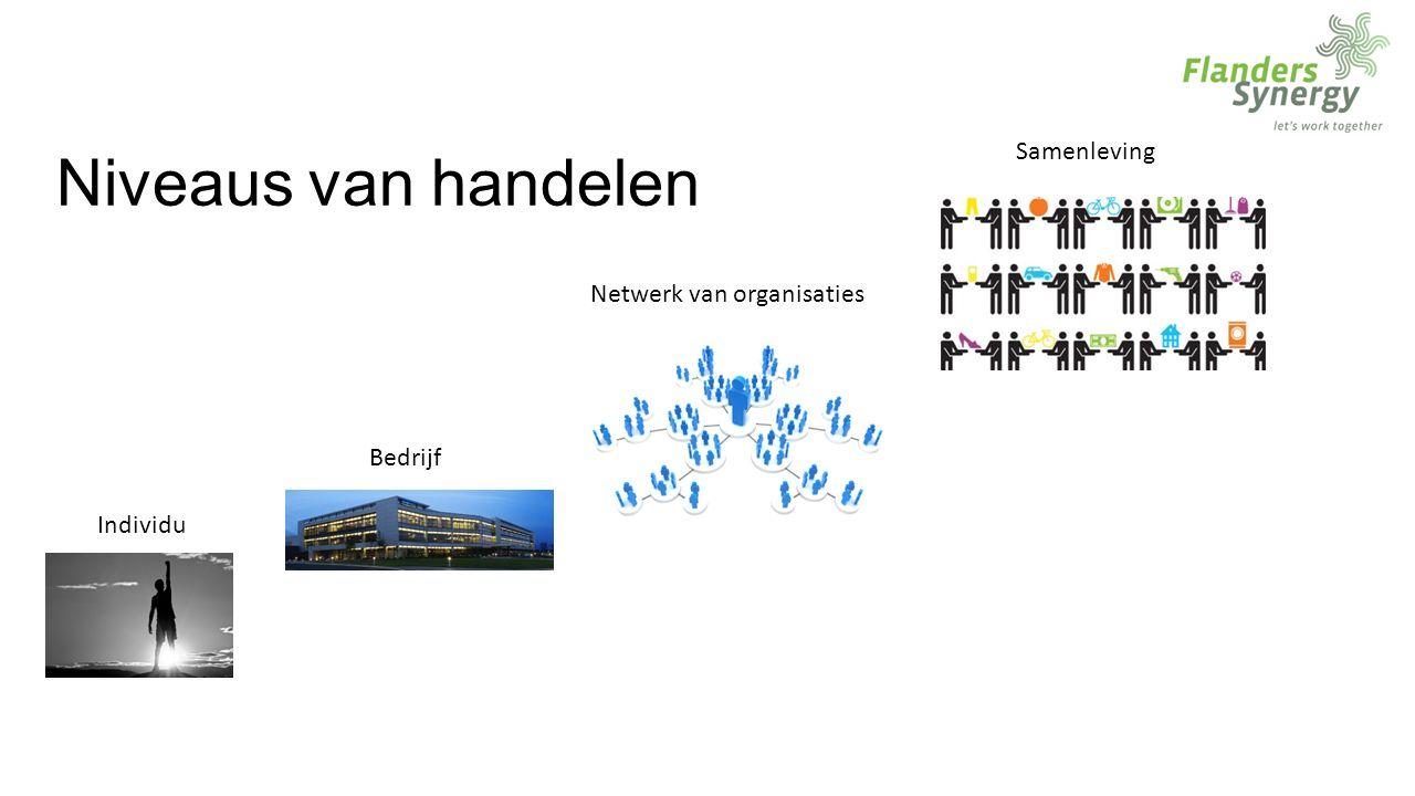 Niveaus van handelen Individu Bedrijf Netwerk van organisaties Samenleving