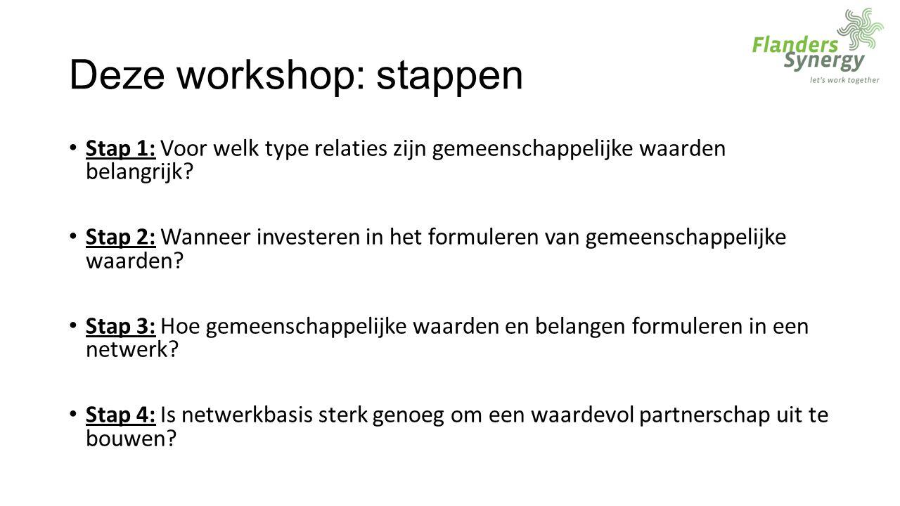 Deze workshop: stappen Stap 1: Voor welk type relaties zijn gemeenschappelijke waarden belangrijk.