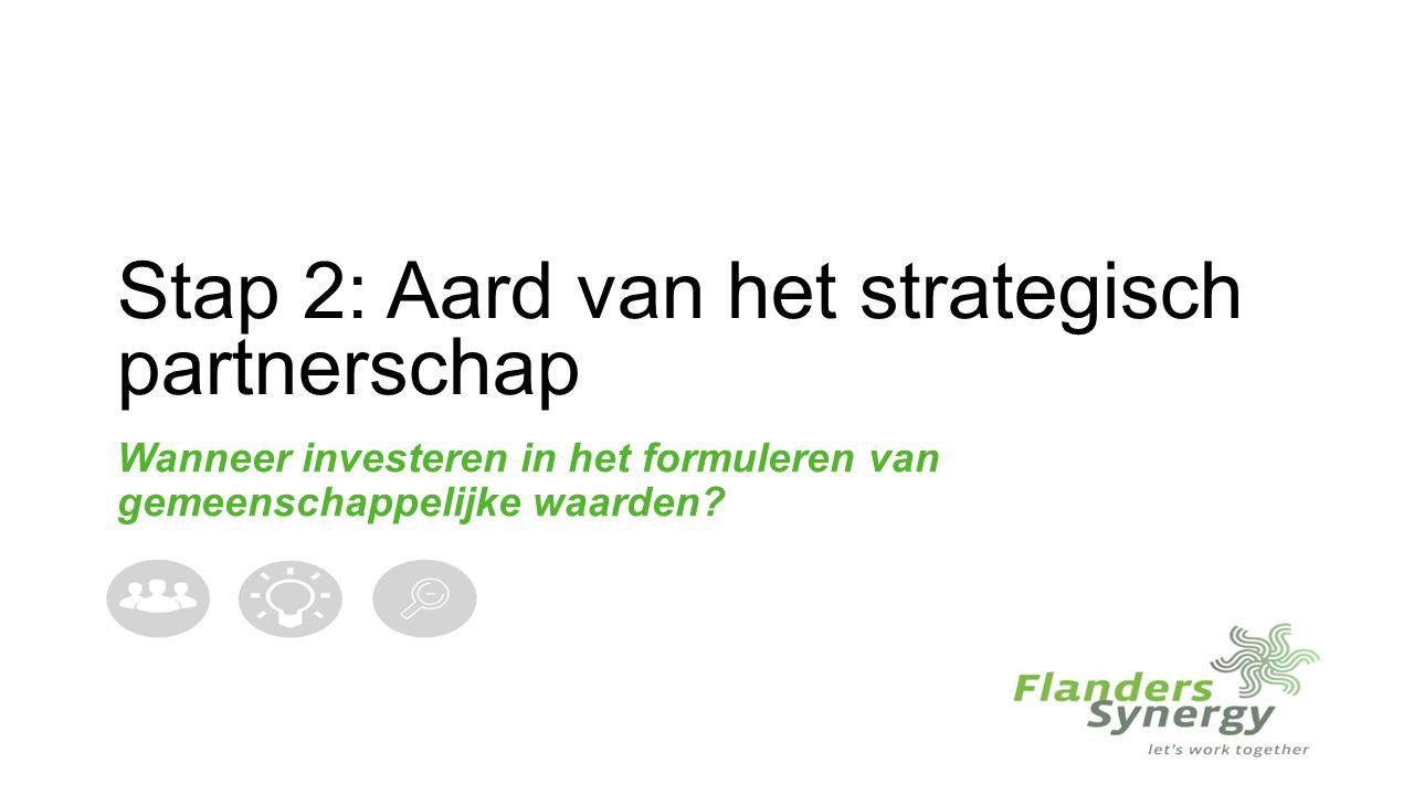 Stap 2: Aard van het strategisch partnerschap Wanneer investeren in het formuleren van gemeenschappelijke waarden?