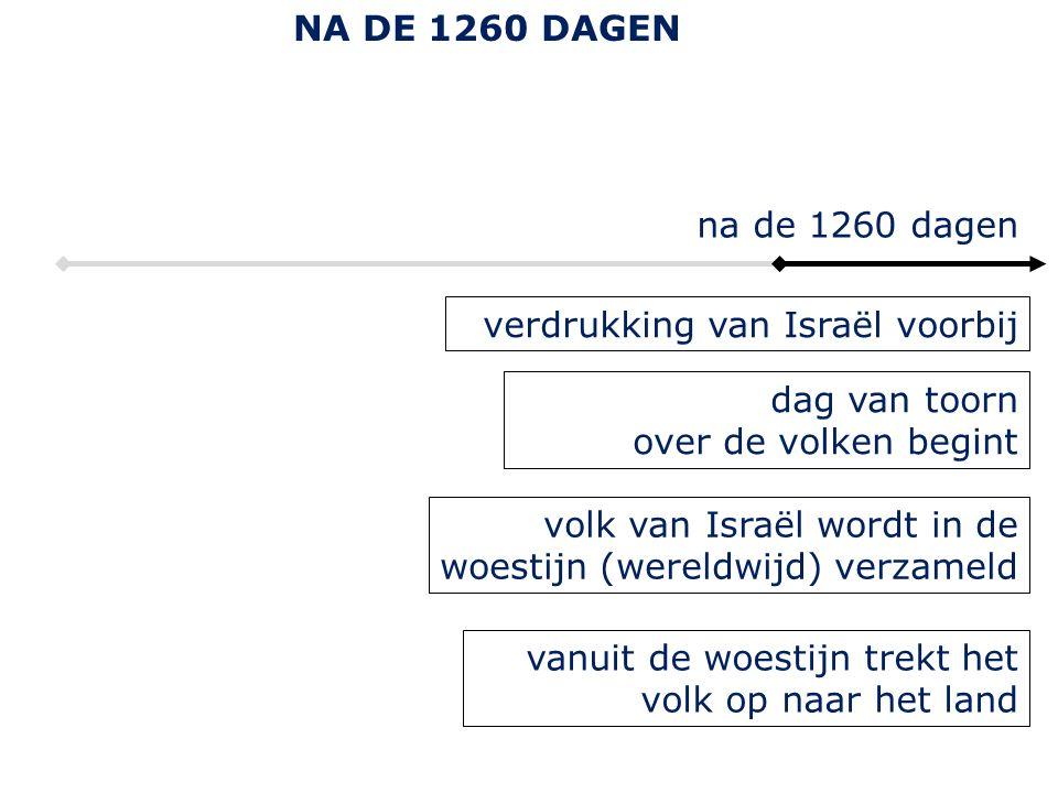 verdrukking van Israël voorbij dag van toorn over de volken begint na de 1260 dagen volk van Israël wordt in de woestijn (wereldwijd) verzameld vanuit de woestijn trekt het volk op naar het land NA DE 1260 DAGEN