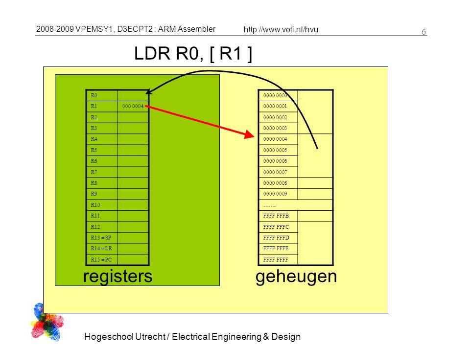 2008-2009 VPEMSY1, D3ECPT2 : ARM Assembler http://www.voti.nl/hvu Hogeschool Utrecht / Electrical Engineering & Design 6 LDR R0, [ R1 ] R0 R1000 0004