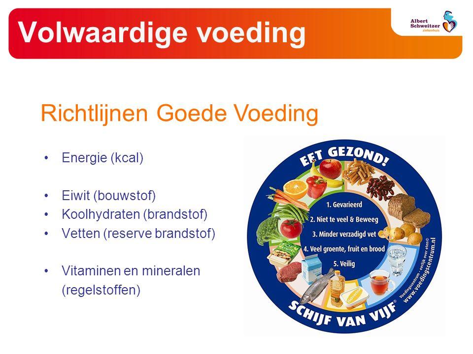 Volwaardige voeding Energie (kcal) Eiwit (bouwstof) Koolhydraten (brandstof) Vetten (reserve brandstof) Vitaminen en mineralen (regelstoffen) Richtlijnen Goede Voeding
