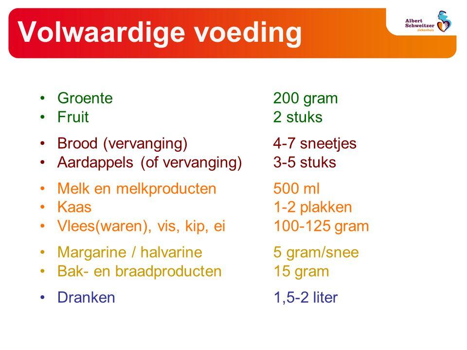Volwaardige voeding Groente 200 gram Fruit2 stuks Brood (vervanging)4-7 sneetjes Aardappels (of vervanging)3-5 stuks Melk en melkproducten500 ml Kaas1-2 plakken Vlees(waren), vis, kip, ei 100-125 gram Margarine / halvarine 5 gram/snee Bak- en braadproducten15 gram Dranken 1,5-2 liter