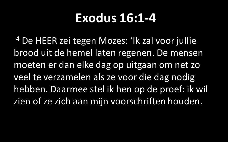 Exodus 16:1-4 4 De HEER zei tegen Mozes: 'Ik zal voor jullie brood uit de hemel laten regenen.