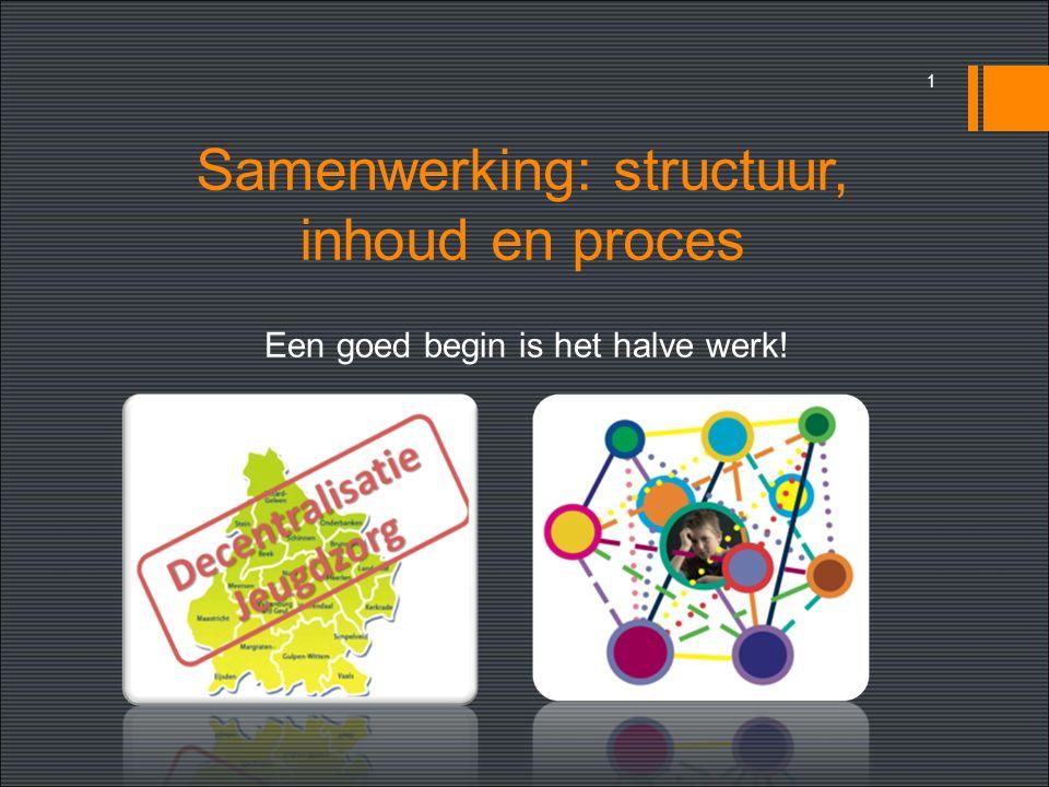 Samenwerking: structuur, inhoud en proces Een goed begin is het halve werk! 1