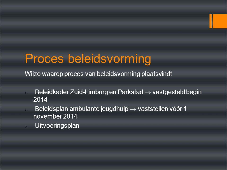 Proces beleidsvorming Wijze waarop proces van beleidsvorming plaatsvindt  Beleidkader Zuid-Limburg en Parkstad → vastgesteld begin 2014  Beleidsplan ambulante jeugdhulp → vaststellen vóór 1 november 2014  Uitvoeringsplan