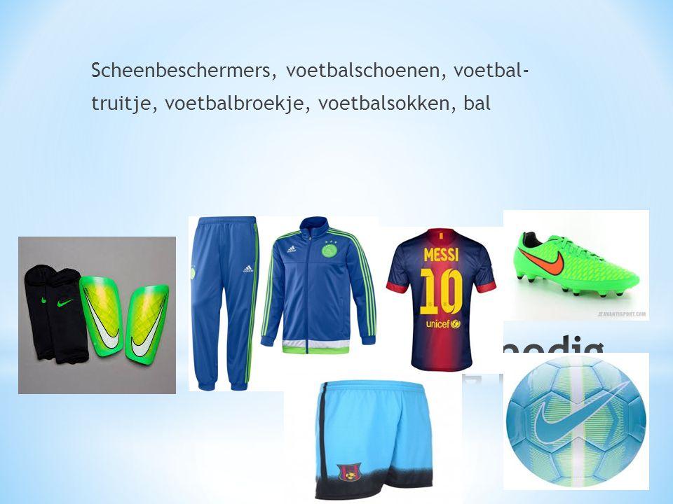Scheenbeschermers, voetbalschoenen, voetbal- truitje, voetbalbroekje, voetbalsokken, bal