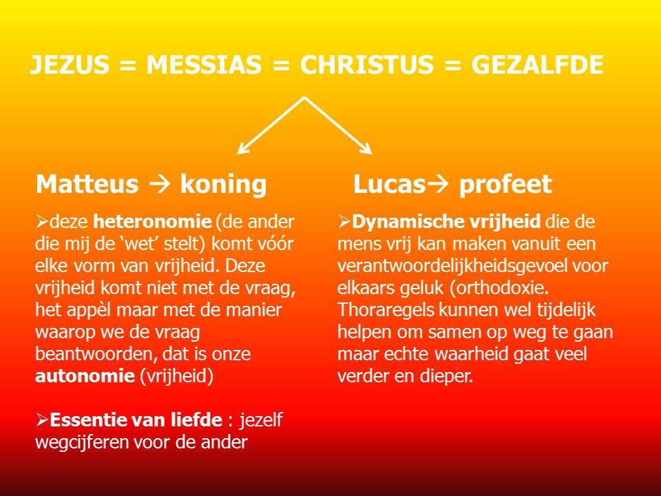 JEZUS = MESSIAS = CHRISTUS = GEZALFDE Matteus  koningLucas  profeet  deze heteronomie (de ander die mij de 'wet' stelt) komt vóór elke vorm van vrijheid.