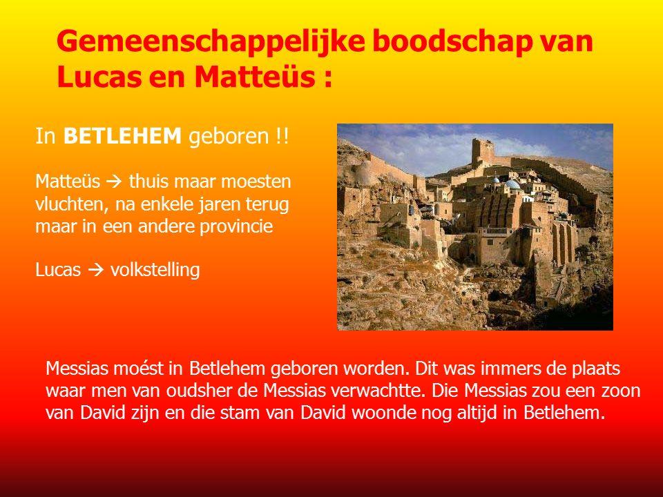 Gemeenschappelijke boodschap van Lucas en Matteüs : In BETLEHEM geboren !.