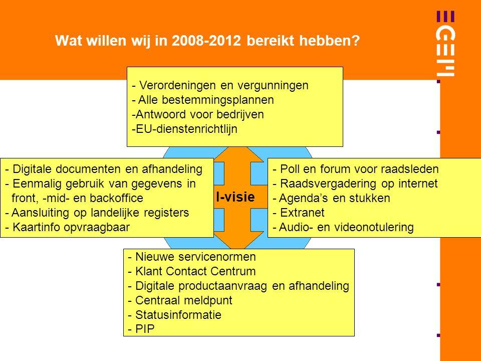 I-visie Wat willen wij in 2008-2012 bereikt hebben.