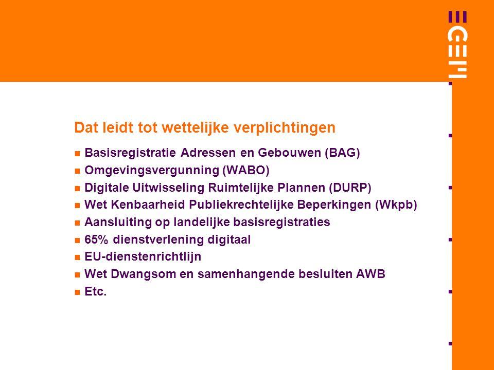 Dat leidt tot wettelijke verplichtingen Basisregistratie Adressen en Gebouwen (BAG) Omgevingsvergunning (WABO) Digitale Uitwisseling Ruimtelijke Plannen (DURP) Wet Kenbaarheid Publiekrechtelijke Beperkingen (Wkpb) Aansluiting op landelijke basisregistraties 65% dienstverlening digitaal EU-dienstenrichtlijn Wet Dwangsom en samenhangende besluiten AWB Etc.